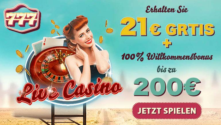 21 € Bonus ohne Einzahlung für neue österreichische Spieler bei 777 Casino