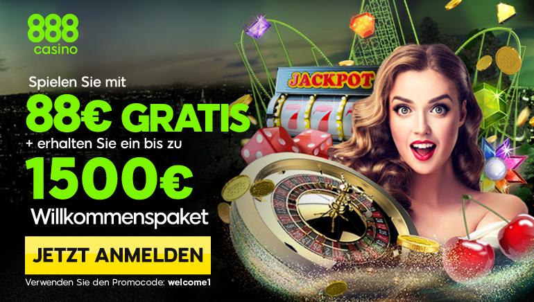 88 € Gratis und 1.500 € Bonusgeld für Neuspieler im 888 Casino