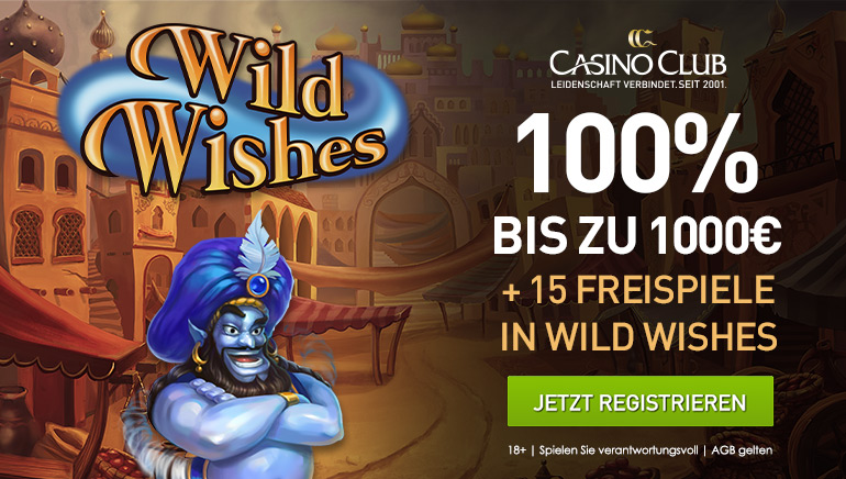 Casino Club bietet 100% Bonus bis zu €1000 + 15 Bonus-Spins