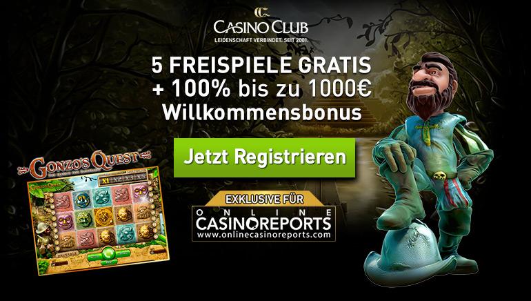 Exklusives Angebot mit 5 Freispielen für Gonzo's Quest & 1000 € Willkommensbonus im CasinoClub Casino