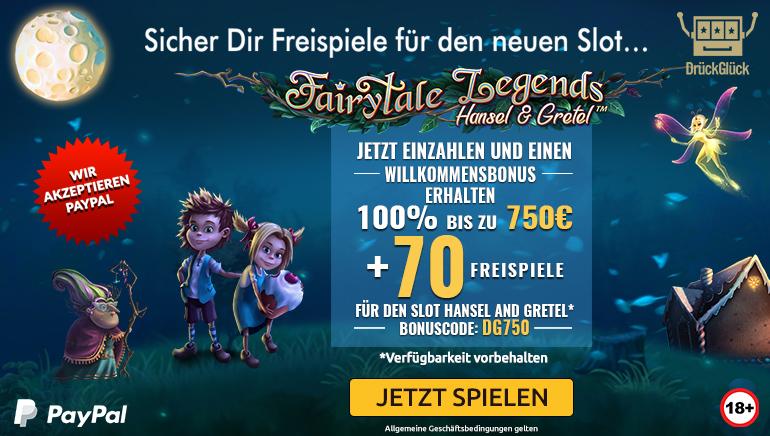 750 € Willkommensbonus und 70 Freispiele für Fairytale Legends: Hänsel und Gretel