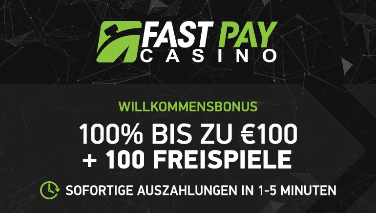 100€ Bonus & 100 Freispiele für neue Spieler im FastPay Casino