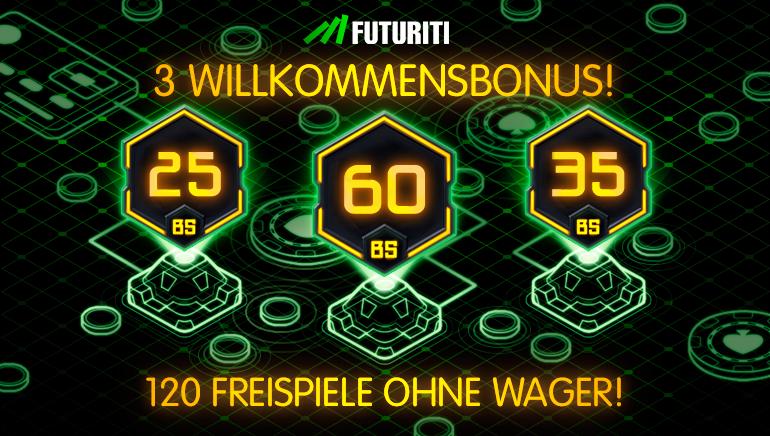 Futuriti Casino heißt Spieler mit bis zu 120 Freispielen willkommen