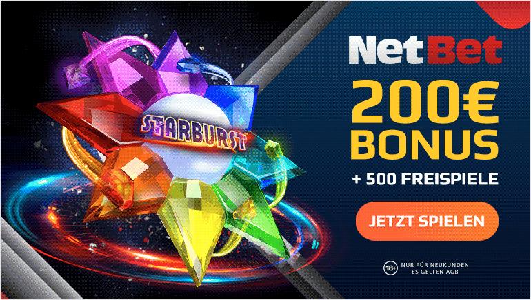NETBET Casino - 200€ BONUS + 500 FREISPIELE