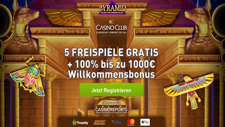 Exklusives Willkommenspaket mit 5 Freispielen für Pyramid: Quest for Immortality und 1000 € Bonus