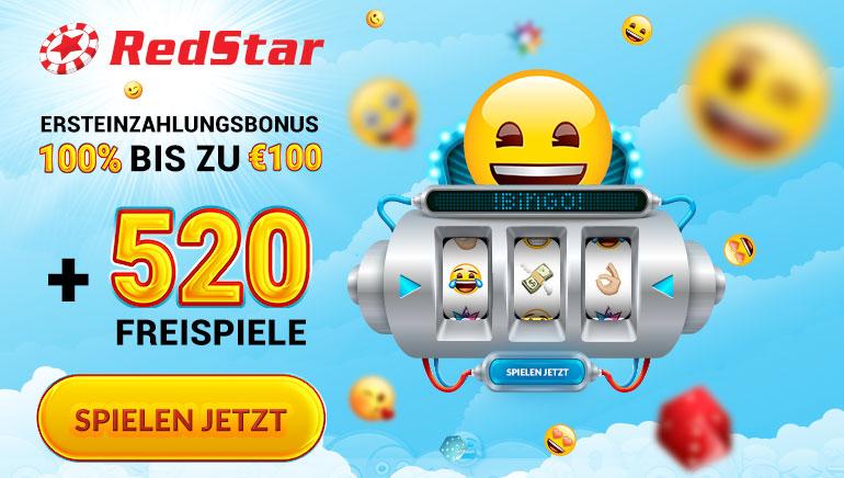 Freispielesturm im RedStar Casino mit 520 Freispielen und bis zu 100 € Bonus