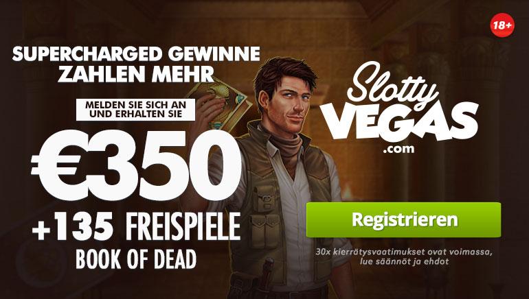 Slotty Vegas bietet 350 € + 135 Freispiele als Willkommensbonus für Book of Dead